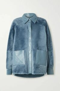 REMAIN Birger Christensen - Beiru Leather-trimmed Shearling Jacket - Azure