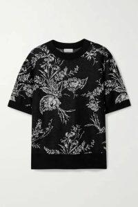 Dries Van Noten - Jeanine Oversized Metallic Floral-jacquard Cashmere-blend Sweater - Black