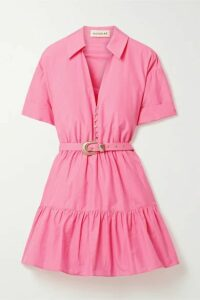 NICHOLAS - Salma Belted Cotton And Silk-blend Mini Dress - Pink