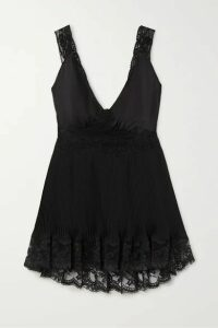 Paco Rabanne - Lace-trimmed Pleated Satin Top - Black