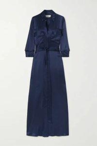 L'Agence - Cameron Belted Silk-satin Maxi Dress - Navy
