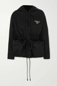 Prada - Hooded Appliquéd Nylon Jacket - Black