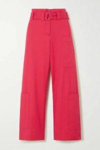 Stine Goya - Roman Oversized Belted Cotton-blend Drill Wide-leg Pants - Fuchsia