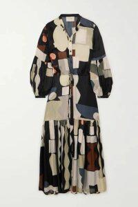 MUNTHE - Emmanuel Tiered Printed Matte-satin Maxi Dress - Black