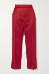 Max Mara - Olindo Wool And Silk-blend Satin Straight-leg Pants - Red