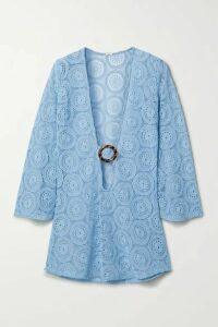 Dodo Bar Or - Jane Embellished Crocheted Cotton Mini Dress - Light blue