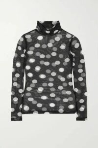 Dries Van Noten - Hotala Polka-dot Stretch-tulle Turtleneck Top - Black