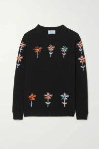 Prada - Intarsia Wool And Cashmere-blend Sweater - Black