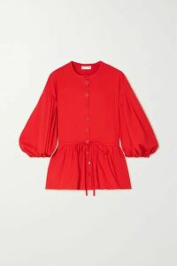 Stine Goya - Ferrah Cotton-blend Jersey Peplum Blouse - Red