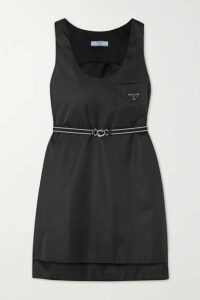 Prada - Belted Appliquéd Nylon Mini Dress - Black