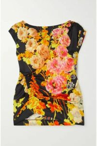 Dries Van Noten - Ceto Ruched Floral-print Satin Blouse - Black
