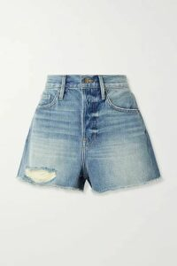 FRAME - Le Heritage Vintage Distressed Denim Shorts - Mid denim