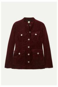 Temperley London - Esmeralda Button-detailed Cotton-velvet Jacket - Burgundy