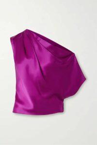 Michelle Mason - One-shoulder Draped Silk-satin Top - Violet