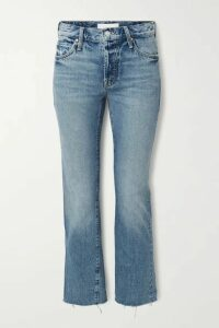 Mother - The Scrapper Frayed Mid-rise Straight-leg Jeans - Blue