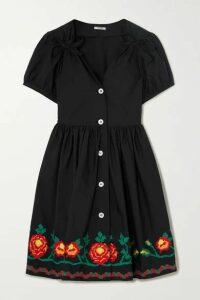 Miu Miu - Embroidered Cotton-blend Poplin Mini Dress - Black