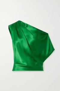 Michelle Mason - One-shoulder Draped Silk-satin Top - Green