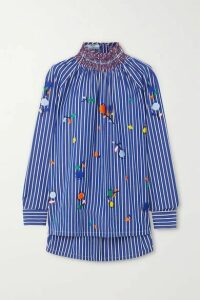 Prada - Smocked Embroidered Striped Cotton-poplin Blouse - Blue