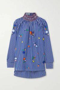 Prada - Smocked Embroidered Striped Cotton-poplin Blouse - Blue