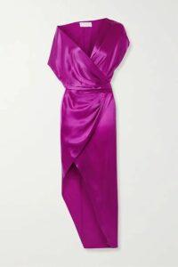 Michelle Mason - Draped Wrap-effect Silk-satin Dress - Violet