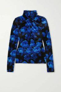 Richard Quinn - Twist-front Floral-print Stretch-velvet Top - Blue