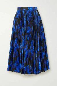 Richard Quinn - Pleated Floral-print Satin Midi Skirt - Blue