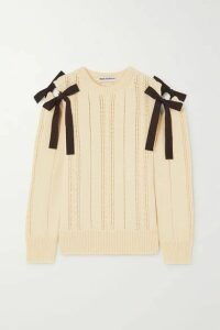 Molly Goddard - Blanche Tie-detailed Cable-knit Wool Sweater - Cream