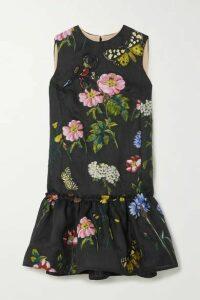 Oscar de la Renta - Ruffled Fil Coupé Silk-blend Dress - Black