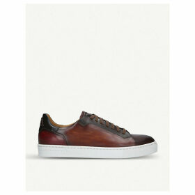 Burnished leather tennis trainers