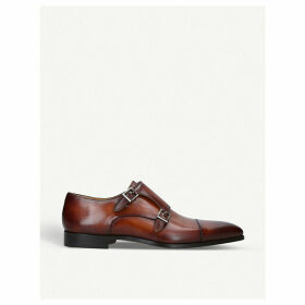 Burnished leather double monk-strap shoes