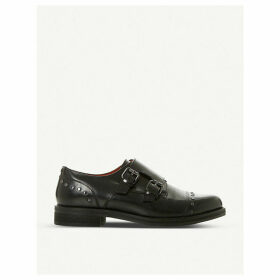 Gini studded leather double monk shoes