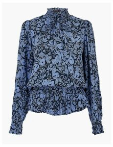 M&S Collection Floral Print Waisted Blouse