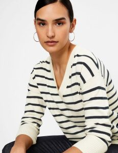 Autograph Cashmere Striped V Neck Relaxed Fit Jumper