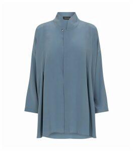 Silk Mandarin Collar Shirt