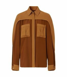 Cape Sleeve Two-Tone Silk Shirt
