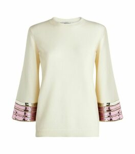 Cashmere-Wool Sequin Sweater