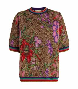 GG Floral Wool-Jaquard Top