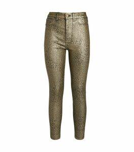Metallic Leopard Print Skinny Jeans
