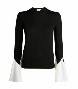 Knit Flared-Cuff Sweater