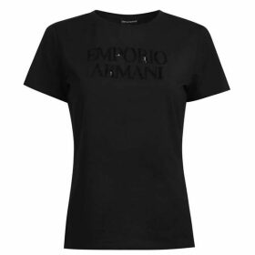 Emporio Armani Sequin Logo Short Sleeved T Shirt