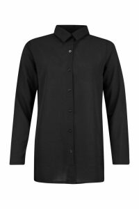 Womens Woven Tunic Shirt - Black - 14, Black