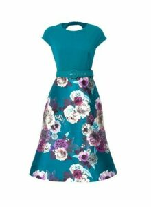Womens Luxe Green Jade Floral Print Belted Midi Dress, Green
