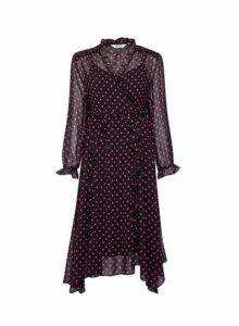 Womens Dp Petite Black Spot Print Chiffon Midi Dress, Black
