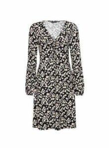 Womens Black Floral Print Ruched Detail Dress, Black