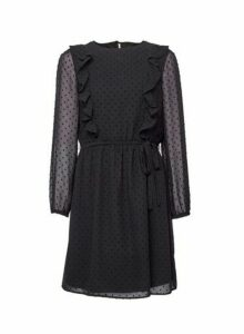 Womens Black Dobby Frill Fit And Flare Dress, Black