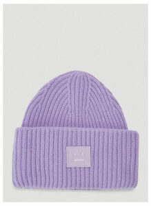 Acne Studios Pansy N Face Knit Hat in Purple size One Size