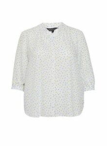 Womens **Billie & Blossom Curve Lemon And Blue Spot Print Top- White, White