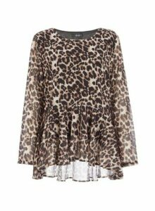 Womens *Quiz Brown Leopard Print Peplum Top, Brown