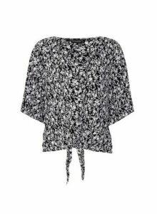Womens Black Floral Tie Front Shirt, Black