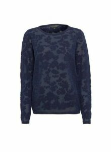 Womens Navy Daisy Mesh Jumper, Navy